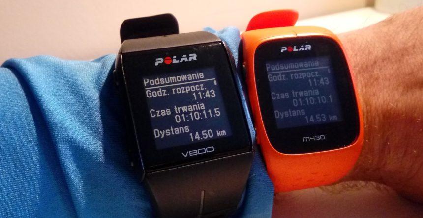 Podsumowanie tego samego treningu na dwóch zegarkach Polar.