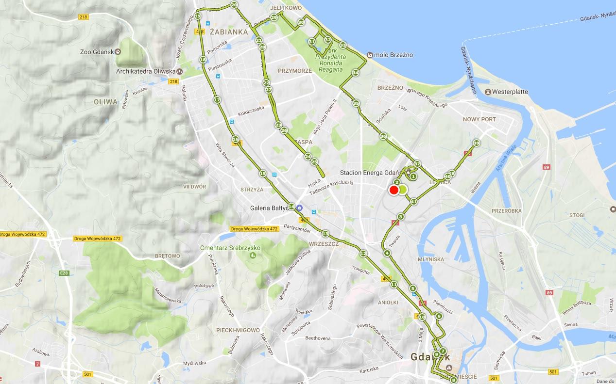 2. PZU Gdańsk Maraton według TomTom Runner 2 Cardio - czyli 41,89 km