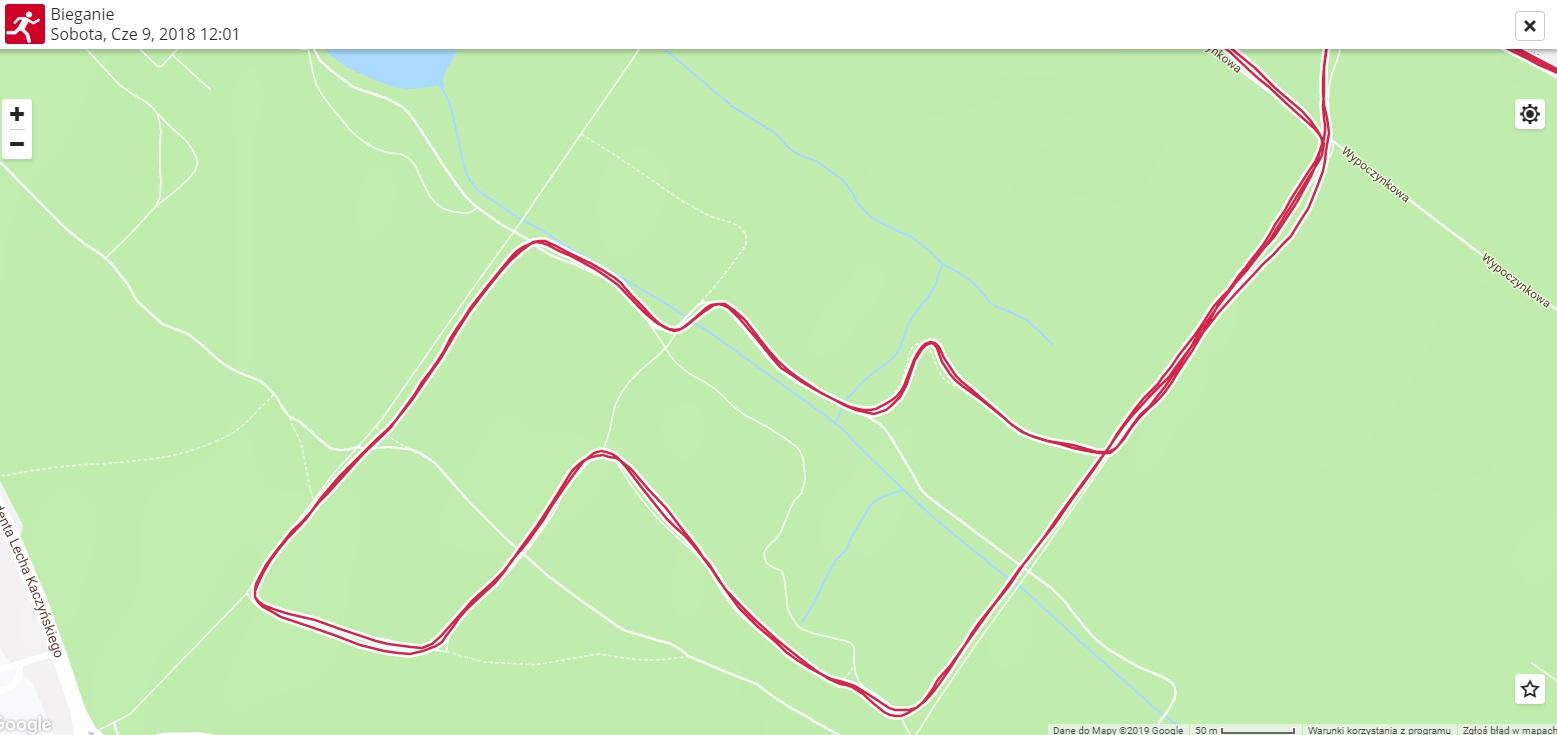 Mapa z V Biegu do Źródeł wyznaczona przez Polar V800.